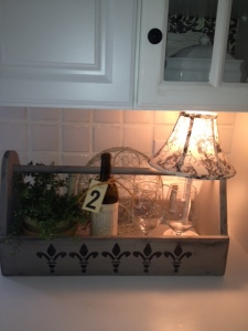 Wine caddy...well it used to be for tools.  Annie Sloane Paint and Black Stencil...