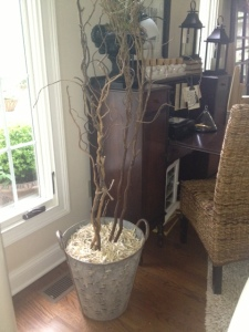 Olive Basket...$38...WOW!  Now holds some twigs with shredded music as my mulch...