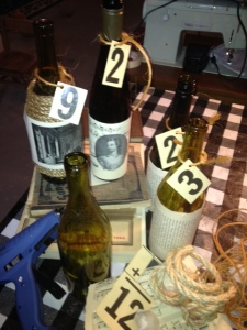 Had almost as much pleasure decorating bottles as drinking the vino...Got the beginning of this idea from Elm & Iron.
