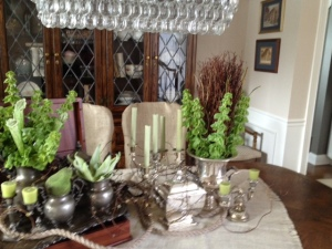 The trick to a good arrangement is adding different textures, shapes, sizes but some commonalities...old and new silver...Good for all seasons, pinecones to spring flowers.